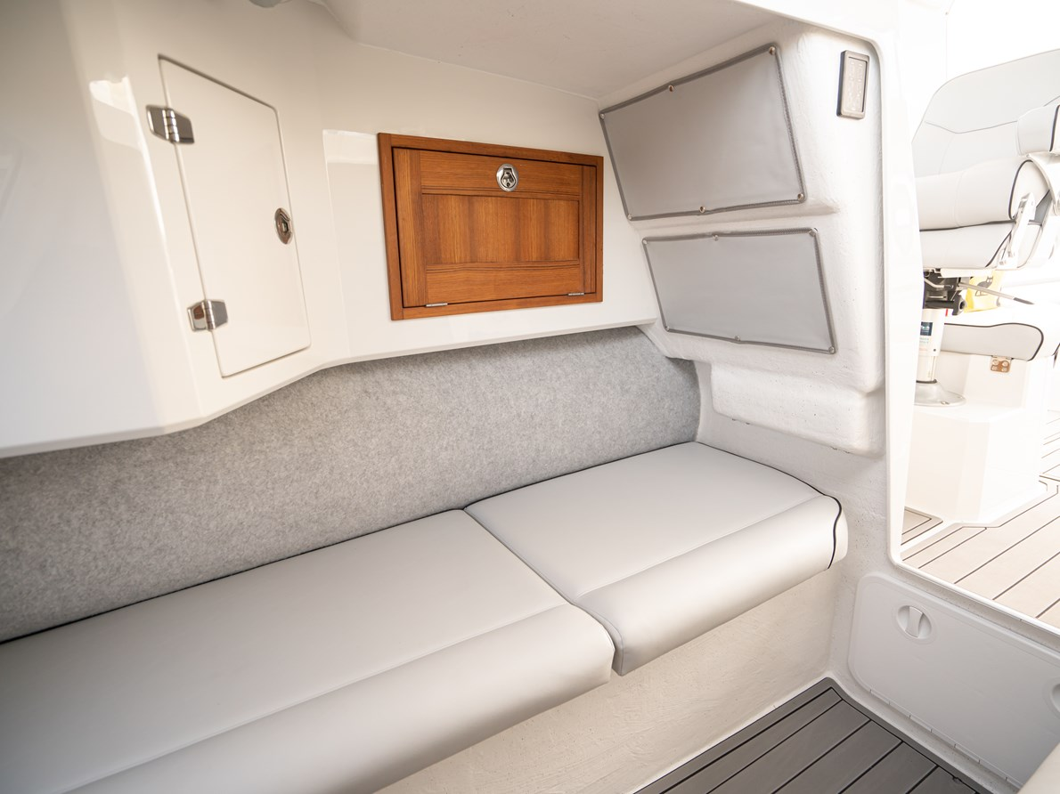 Optional built in fridge & storage compartment